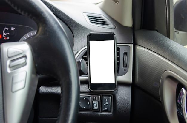 画面のスマートフォンの空白の挿入広告または広報。