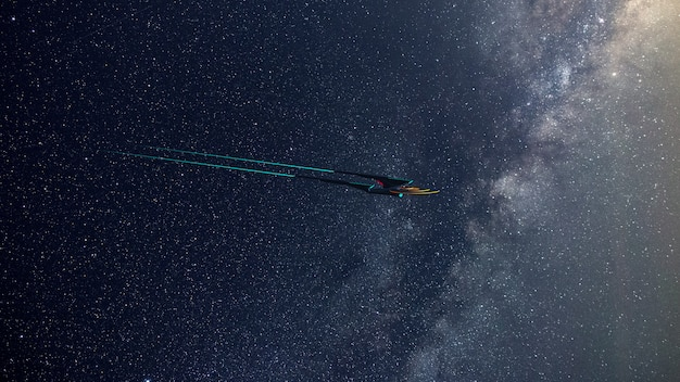 Screen wallpaprer of science fictional image of a deep space starship and milky way