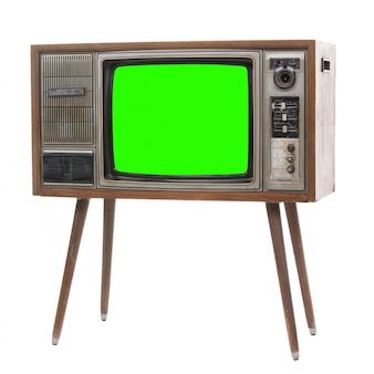 緑のscrenと古いレトロなテレビ。