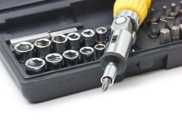 Screw driver and spanner kit isolated  on a white space