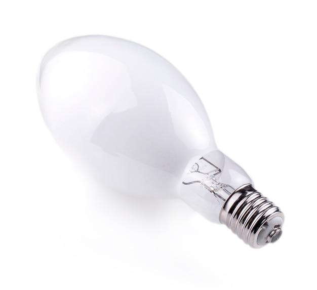 白い背景の上のねじ電球