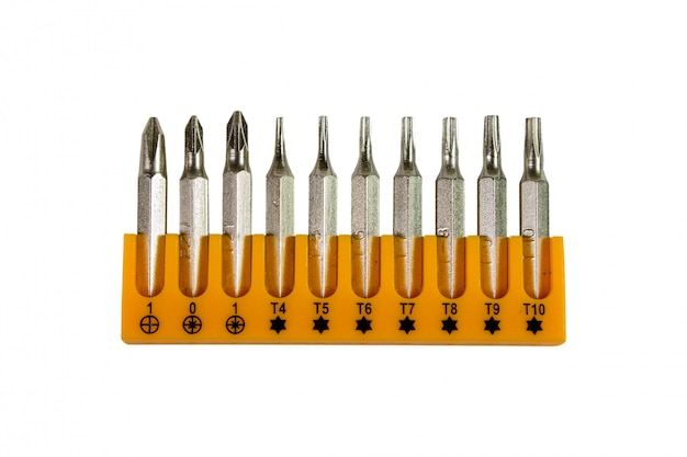 Screwdriver bits isolated