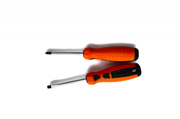 Screwdrivers with rubberized handles on white