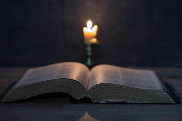 Scriptures and candles on a wooden table