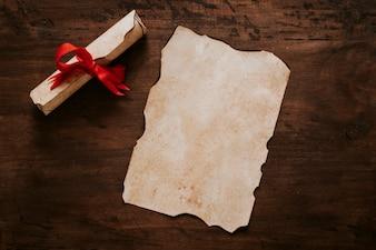 Scroll near parchment