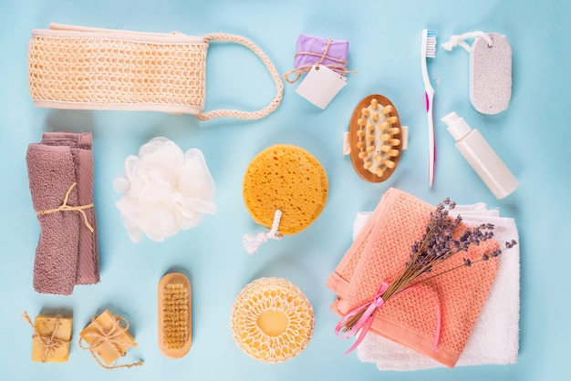 Scrub peeling brush body scrubber massager loofah bar of soap on blue