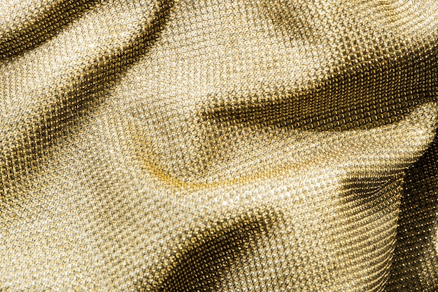 Scrunched gold fabric