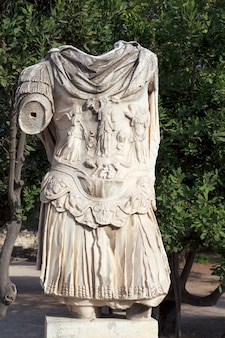 Sculpture of a headless soldier of the ancient roman empire, athens.