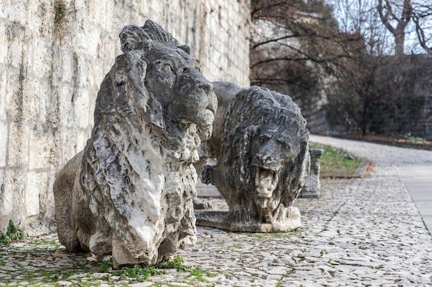 В парке замка установлены скульптуры мраморных львов - символа города брешиа. ломбардия, италия