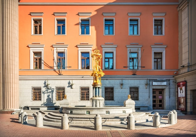 Sculpture of princess turandot at the vakhtangov theater on the arbat in moscow on a summer morning