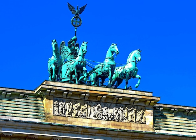 Sculpture of a quadriga with the figure of the goddess victoria on top of the brandenburg gate