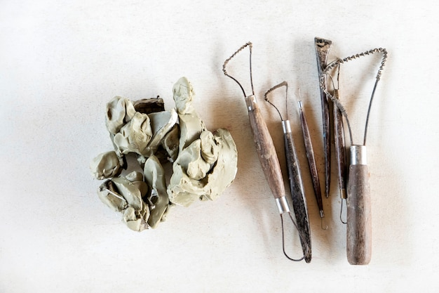 Sculpture tools set. art and craft tools on a white background.