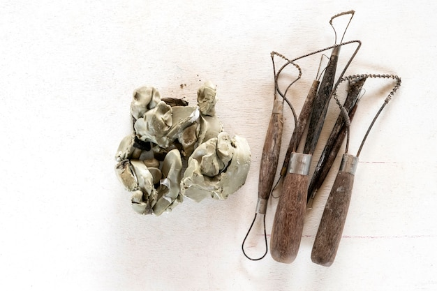 Sculpture tools set background. art and craft tools on a white background.