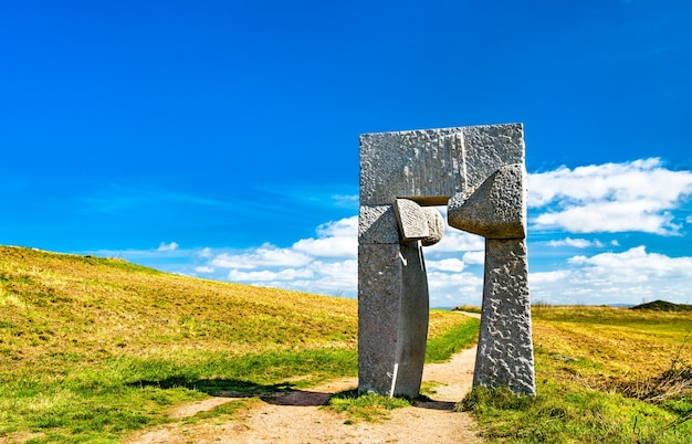 Sculpture at the tower of hercules in a coruna