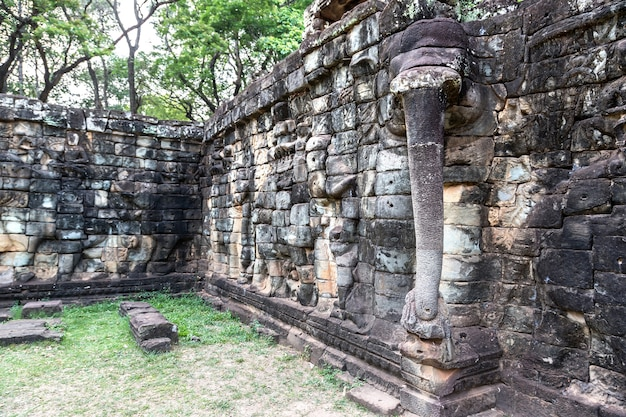 Sculpture on the wall terrace of elephants temple in angkor wat, cambodia