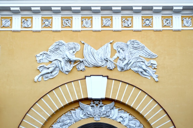 The sculptures on the building of the main admiralty in saint-petersburg, russia
