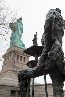 Sculptures by phillip ratner, statue of liberty, liberty island, manhattan, new york city, new york
