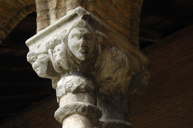 Sculptures in the cloister church of jacobins in toulouse, france