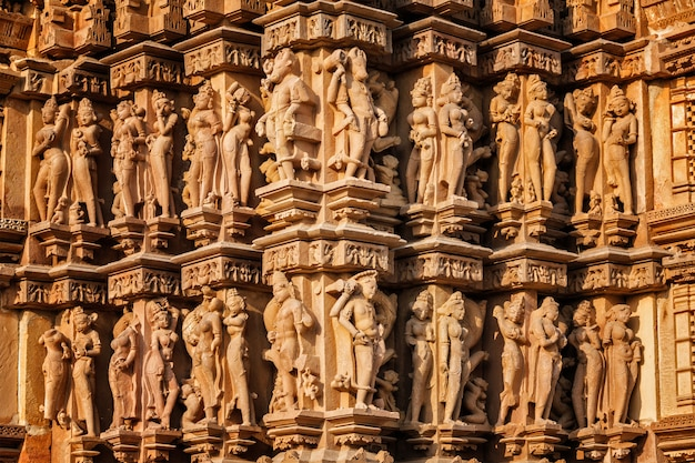 Sculptures on khajuraho temples