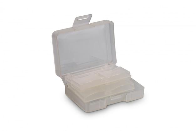Sdカード収納用プラスチックケースまたは白で隔離されるメモリーカードボックス