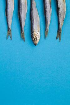 Морской фон. селедка на синем фоне. расположение вертикальное. вид сверху. скопируйте пространство.