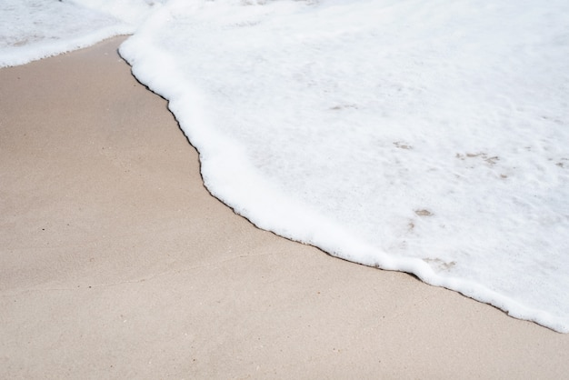 The sea beach and soft wave on brown sand, beauty by nature