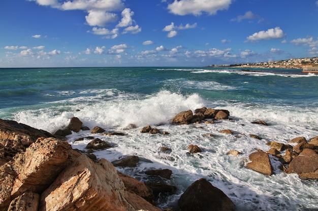 The sea in byblos, ancient roman ruins in lebanon