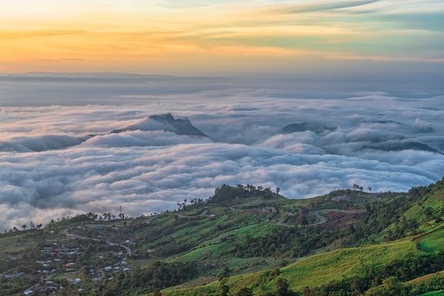 Sea of clouds in mountain at sunrise, phu tubberk phetchabun, thailand.