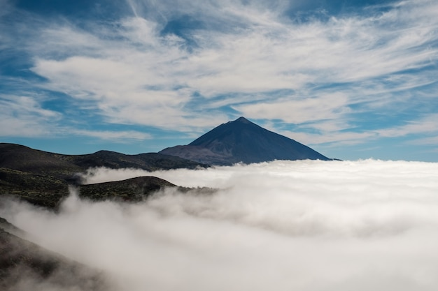Sea of clouds with the teide volcano