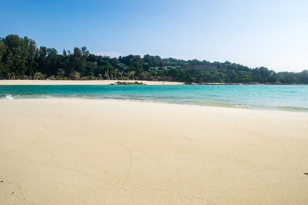 Sea crystal beach white sand smooth on andaman sea