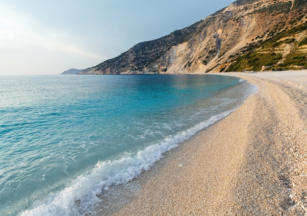 바다 저녁보기 myrtos 해변, 그리스, kefalonia, 이오니아 해.