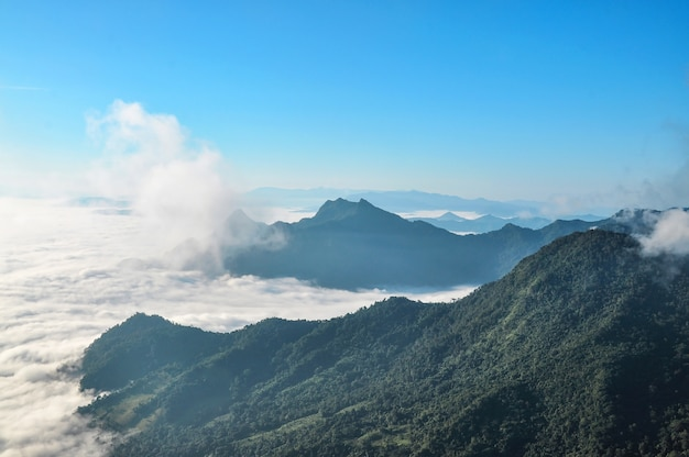 Sea of fog and mountains in early morning