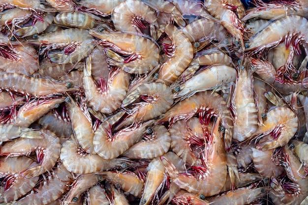 Море свежих креветок на уличном рынке в таиланде. концепция морепродуктов. сырые креветки для приготовления, крупным планом