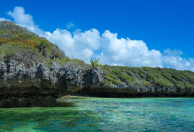 Море на пляже занзибара. природный тропический водный рай. природа расслабиться. путешествие на тропический остров-курорт.
