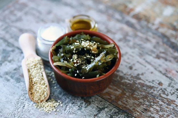 Sea kale with sesame seeds and olive oil. healthy seafood. omega 3. trace elements. diet food.