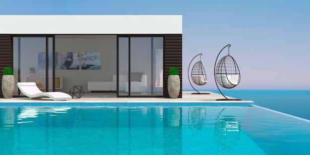 수영장과 선베드가있는 바다 현대 빌라