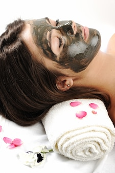 Sea mud mask on the woman's face