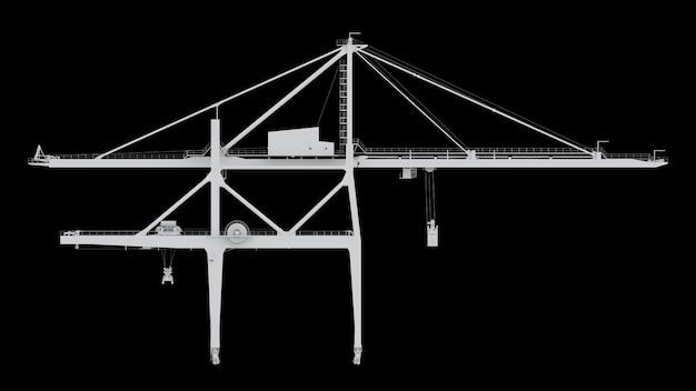 Sea port crane on a black background. 3d rendering.