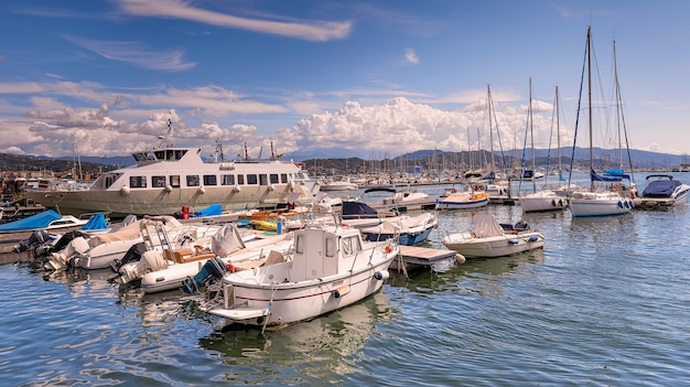 Sea port and ferry terminal in la spezia. italy, cinque terre