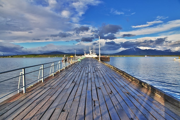 The sea port in puerto natales, chile