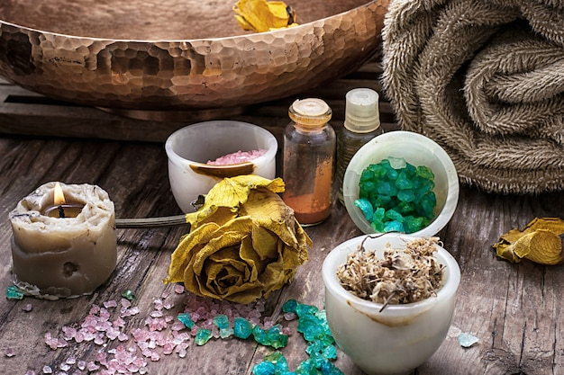 Sea salt and accessories for a rejuvenating spa sessions
