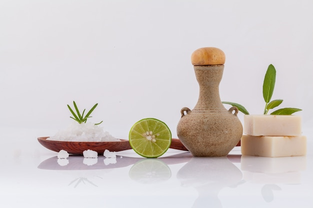 Sea salt natural spa ingredients isolate on white background.