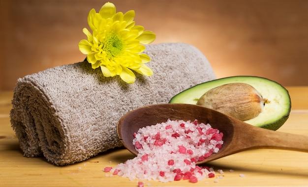 Sea salt, towel and avocado