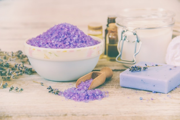 Sea salt with lavender extract. selective focus.