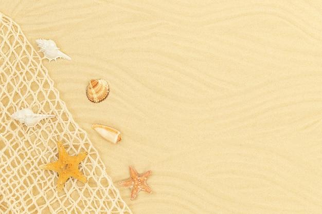 海の網の貝殻とヒトデと海砂の背景