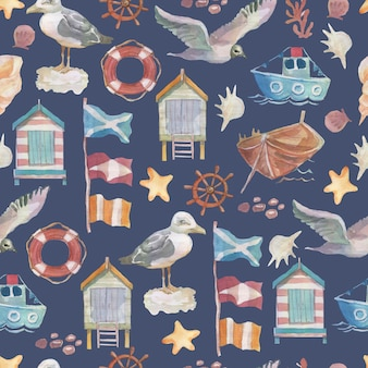 カモメの鳥の船の旗海岸の家のステアリングホイールクルーズの旅