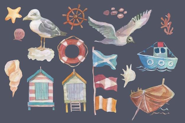 바다 갈매기 새 배 플래그 해변 주택 스티어링 휠 크루즈 여행