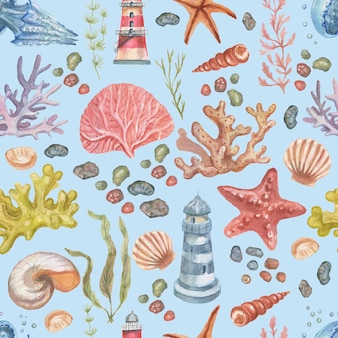 Море набор коллекция клипарт путешествия маяк медузы морские звезды кораллы ракушки пляж акварель