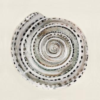 パステルカラーの海のシェル-油絵