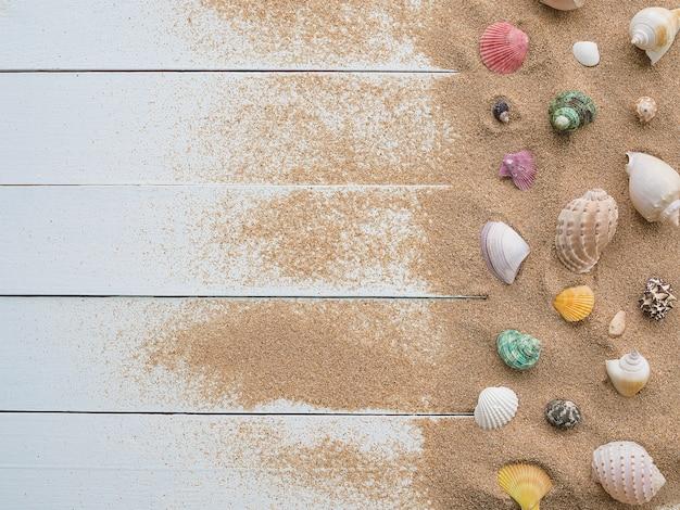 木材の背景に砂と海のシェル。コピースペースの平面図です。旅行の夏休み。
